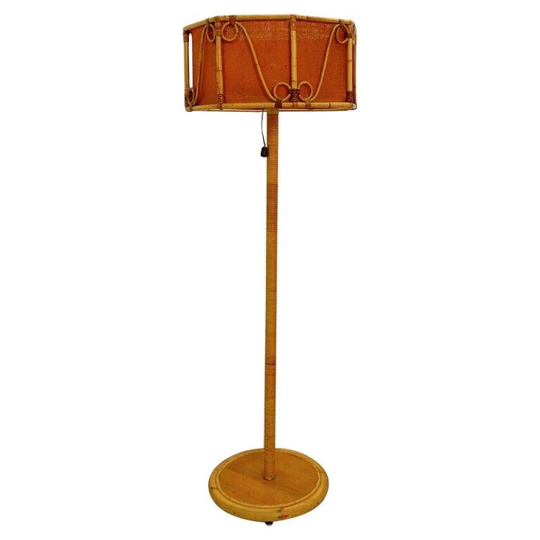 Italian Bamboo Floor Lamp, 1960s For Sale