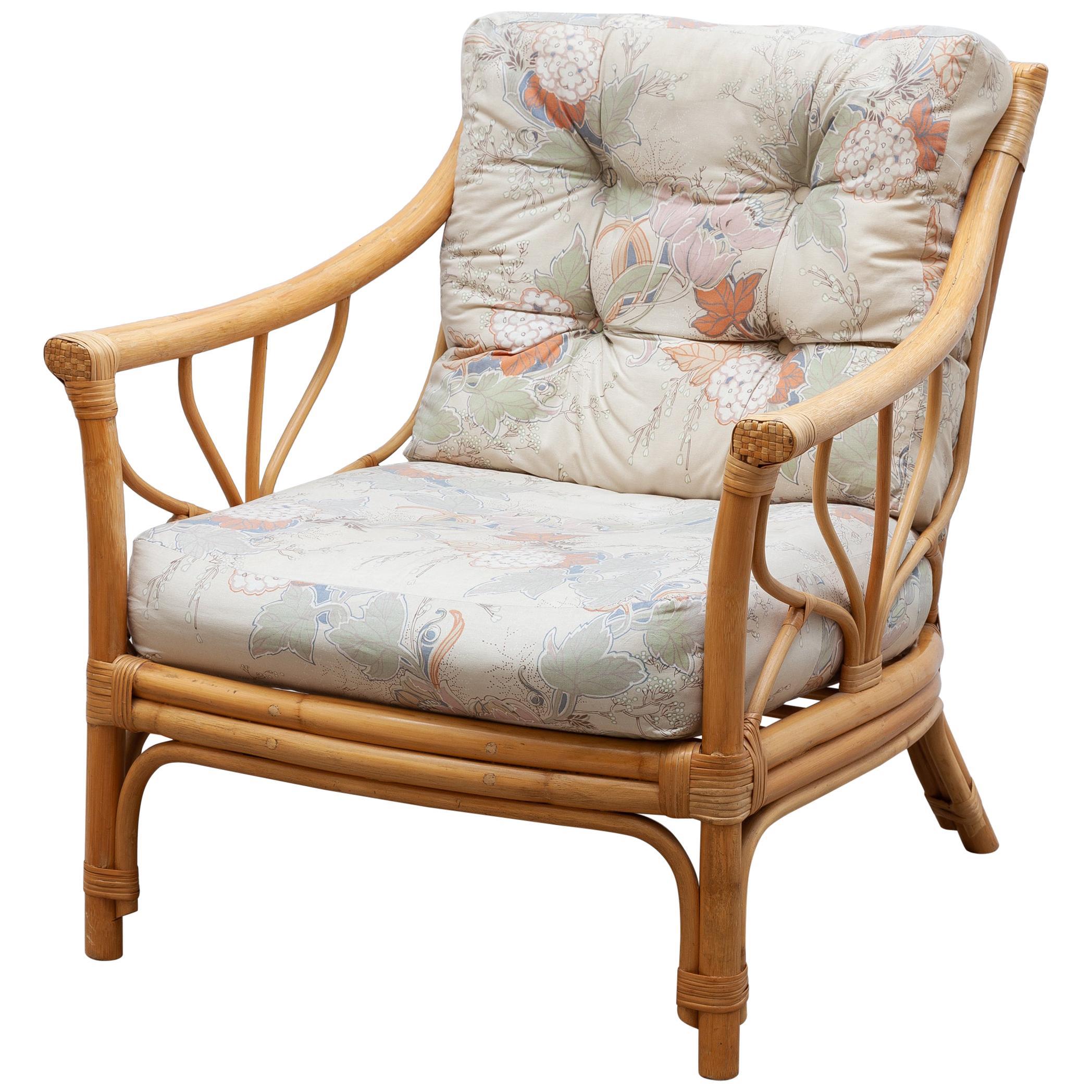 Italian Bamboo Lounge Chair, 1970s