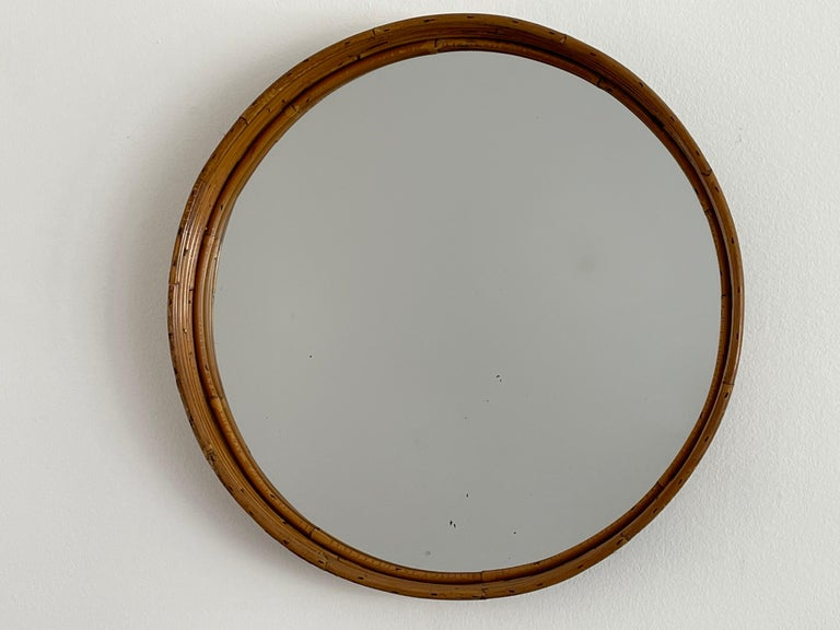 Wonderful Italian bamboo mirror - with recessed mirror and great patina.