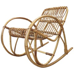 Italian Bamboo or Rattan Rocking Child's Chair, Midcentury Style, Bonacina Style