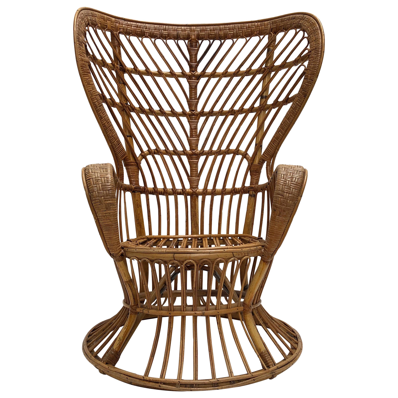 Italian Bamboo & Wicker Carlo Mollino Style Lounge Chair 1950s
