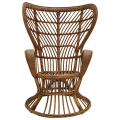 Italian Bamboo & Wicker Carlo Mollino Style Lounge Chair 1950s