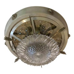 20th Century Empire Style Ceiling Light Italian Banci Firenze White Flush Mount