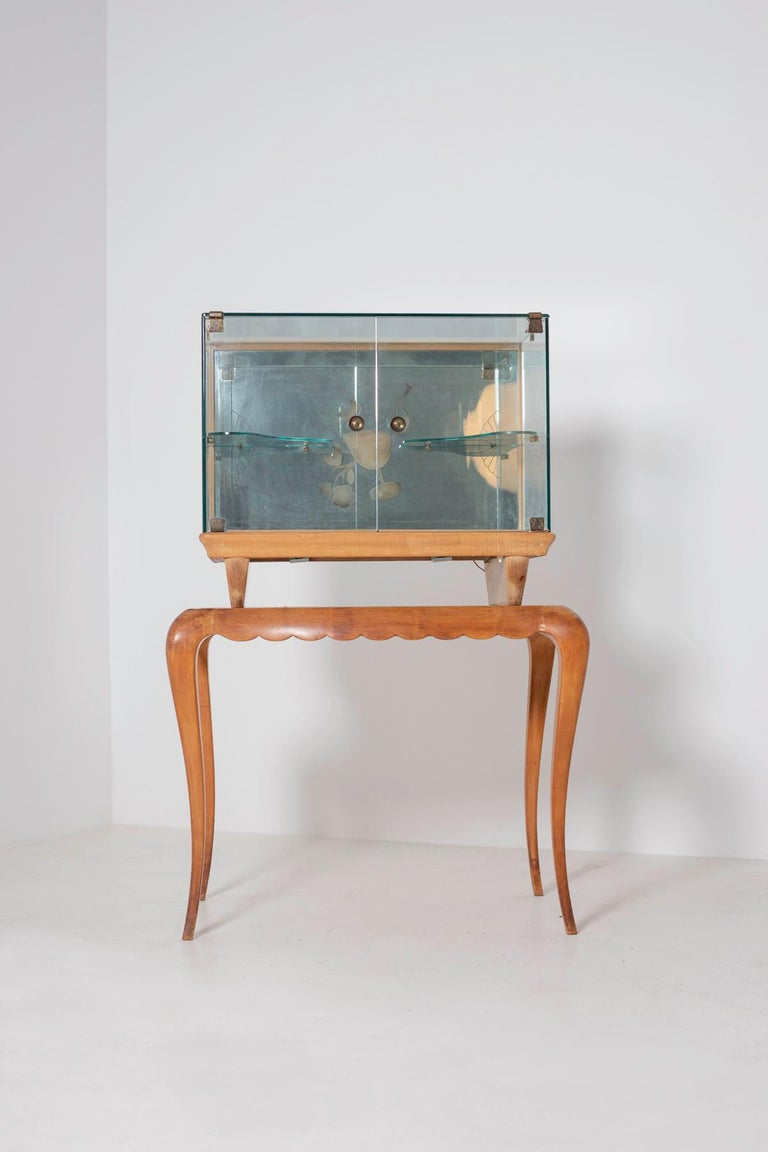 Mid-Century Modern Italian Bar cabinet attributed to Pietro Chiesa for Fontana Arte, 1950s For Sale