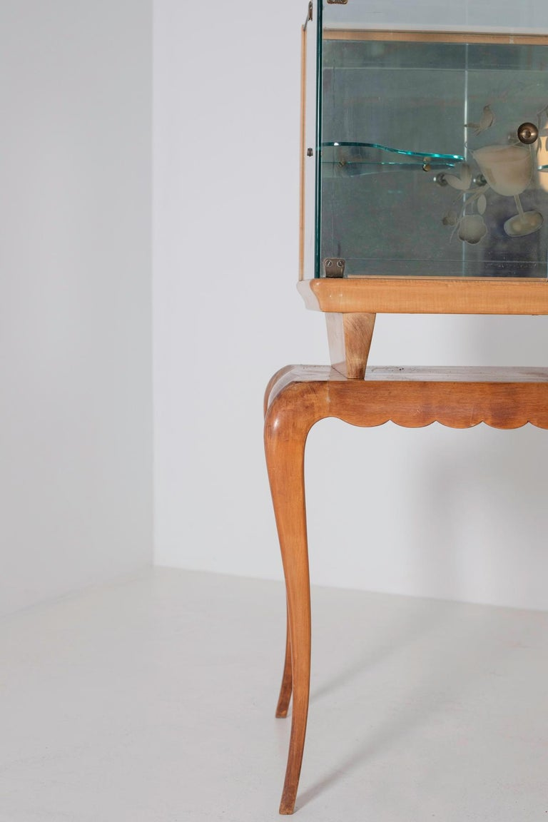 Mid-20th Century Italian Bar cabinet attributed to Pietro Chiesa for Fontana Arte, 1950s For Sale