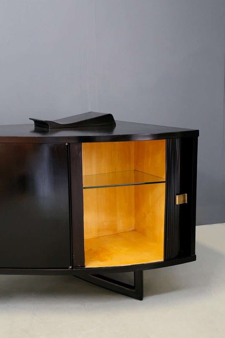 Italian Bar Cabinet by in Ebonized Wood and Brass, 1940s 1