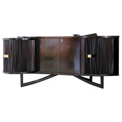 Italian Bar Cabinet by in Ebonized Wood and Brass, 1940s