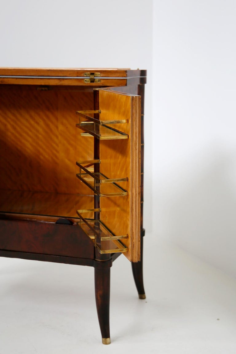 Italian Bar Cabinet by Tomaso Buzzi in Wood and Brass, Verified Archive 6