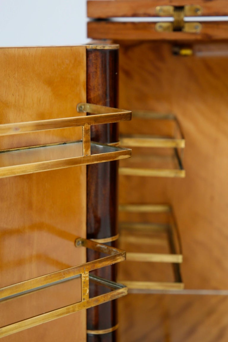 Italian Bar Cabinet by Tomaso Buzzi in Wood and Brass, Verified Archive 4