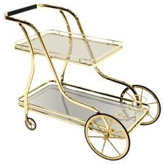 Italian Bar Cart, Brass with Clear Glass Top Surface, Mirrored Bronze Lower