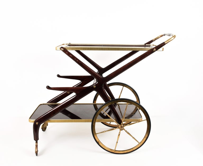 Italian Bar Cart Cesare Lacca, Italy, 1950s Mid-Century Modern 5