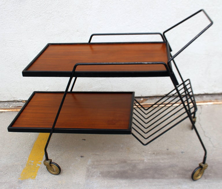 1950s Italian bar cart metal frame mix with the rosewood top. First shelf height is 22 inches.