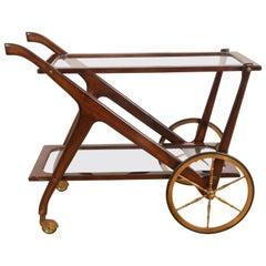 Italian Bar Cart in Mahogany by Cesare Lacca, Italy, 1950s, Mid-Century Modern