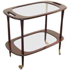 Italian Bar Cart Mahogany by Cesare Lacca for Cassina Service Cart Italy, 1950s