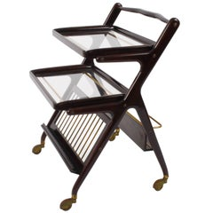Italian Bar Cart Mahogany by Cesare Lacca, Serving Tray, Midcentury, Italy 1950s