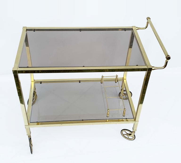 Mid-Century Modern Italian Bar Cart on Two Levels and Smoked Glass, Italy 1970s, Gold-Plated Brass For Sale