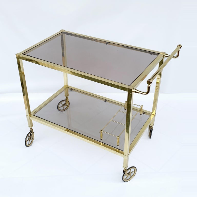 Italian Bar Cart on Two Levels and Smoked Glass, Italy 1970s, Gold-Plated Brass In Fair Condition For Sale In Roma, IT