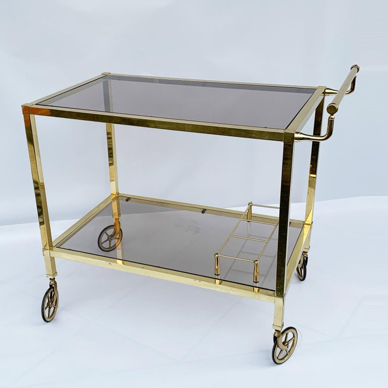 20th Century Italian Bar Cart on Two Levels and Smoked Glass, Italy 1970s, Gold-Plated Brass For Sale