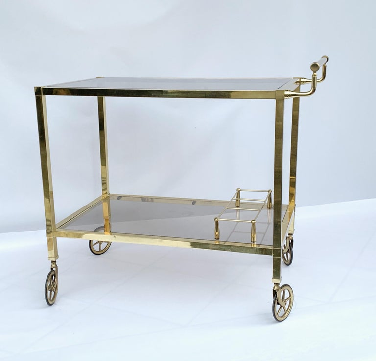 Italian Bar Cart on Two Levels and Smoked Glass, Italy 1970s, Gold-Plated Brass For Sale 1