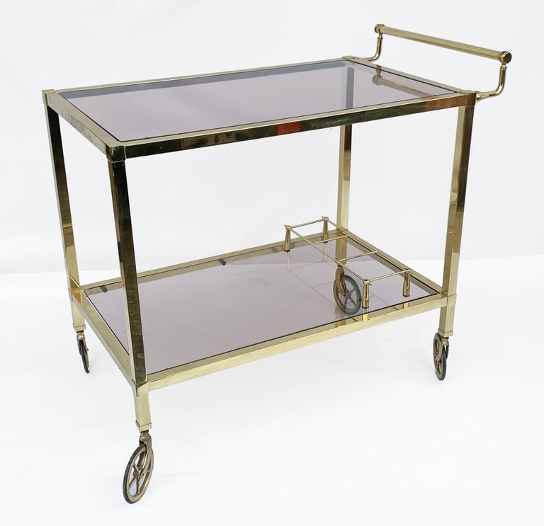 Italian Bar Cart on Two Levels and Smoked Glass, Italy 1970s, Gold-Plated Brass For Sale 2
