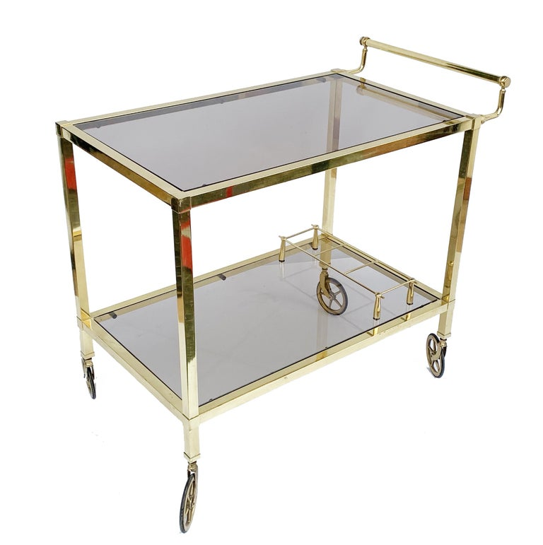 Italian Bar Cart on Two Levels and Smoked Glass, Italy 1970s, Gold-Plated Brass For Sale