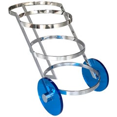 Italian Bar Cart Stainless Steel with Blue Lucite Wheels, 1970s