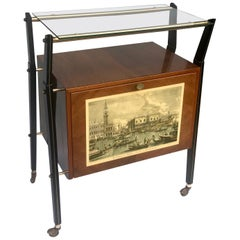Italian Bar or Cart in Walnut, Venice Print and Light, Italy, 1950s Signed Sarti
