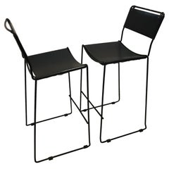Italian Bar Stools Black Metal With Black Leather Covers