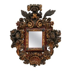 18th Century Italian Baroque Period Ornately-Carved Wood Wall Plaque with Mirror