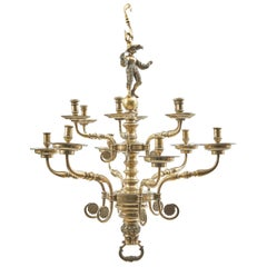 Italian Baroque 12-Light Brass Chandelier with Figural Stem, circa 1850