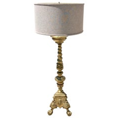 Italian Baroque Alter Stick Lamp of Large-Scale