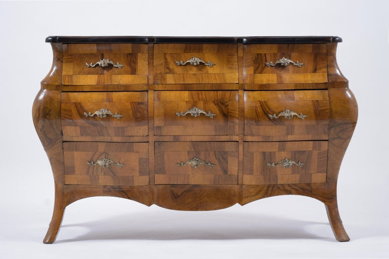 Carved Italian Baroque Burl Dresser For Sale