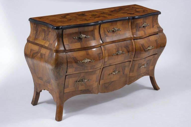 Brass Italian Baroque Burl Dresser For Sale