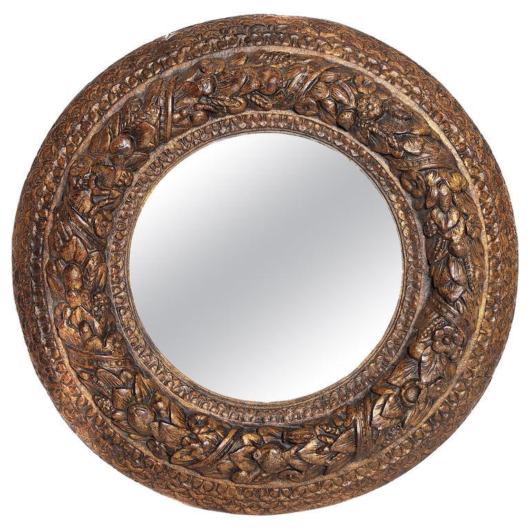 Italian Baroque Carved and Gilded Round Picture / Mirror Frame For Sale