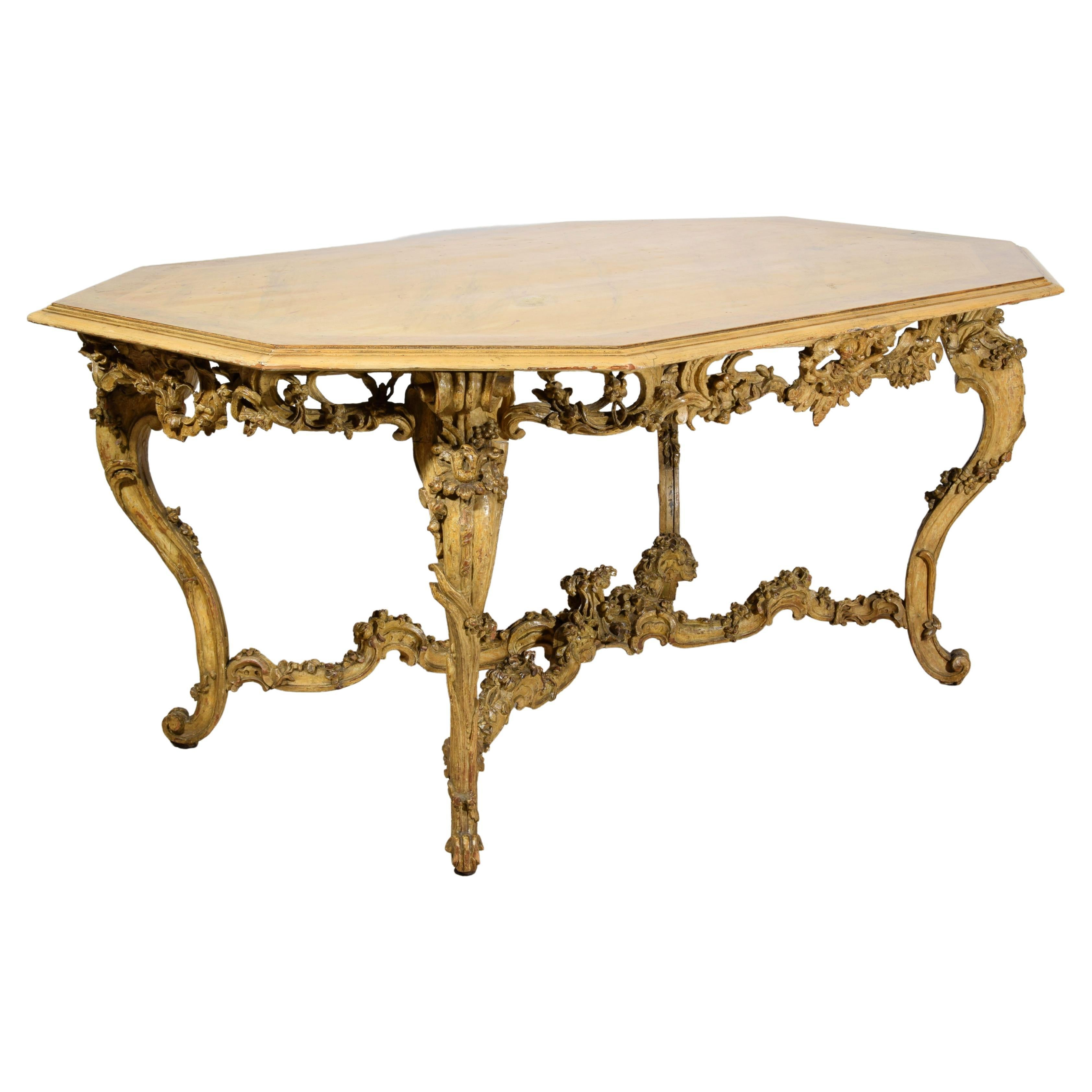 Italian Baroque Carved Gilt and Lacquered Wood Center Table, 18th Century