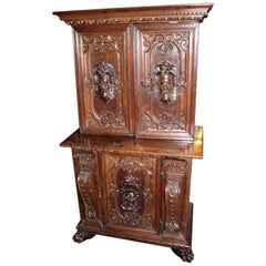 Italian Baroque Carved Walnut Cupboard, 17th Century