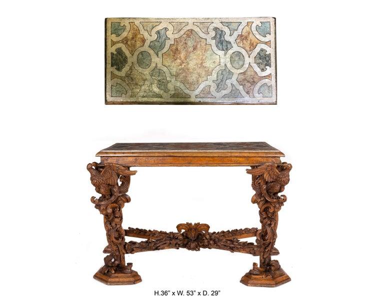 Italian Baroque Carved Walnut Side Console Table, 18th Century For Sale 4
