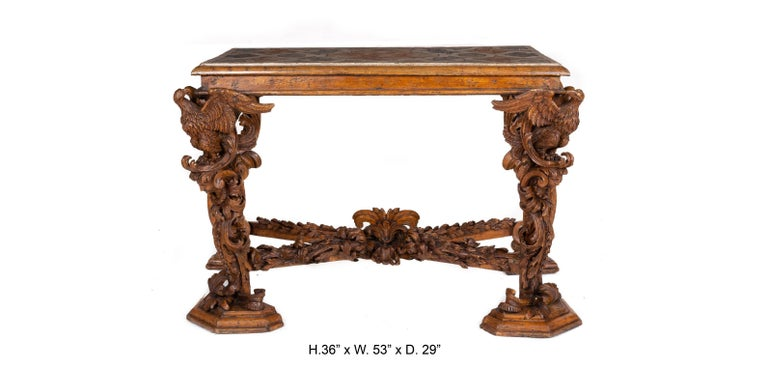 Italian Baroque Carved Walnut Side Console Table, 18th Century For Sale 5