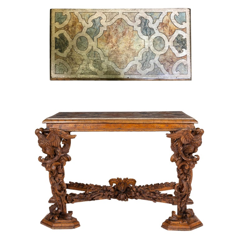 Italian Baroque Carved Walnut Side Console Table, 18th Century For Sale