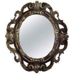 Italian Baroque Ebonized and Silver Gilt Mirror-Dorothy Draper Style
