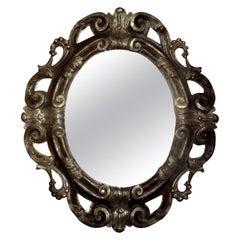 Italian Baroque Ebonized and Silver Gilt Mirror-Dorothy Draper Style