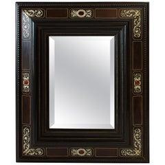 Italian Baroque Ebonized, Specimen Marble and Bone Inlaid Mirror, 18th Century