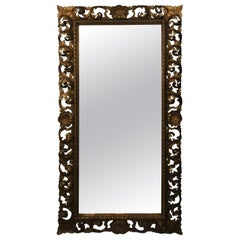 Italian Baroque Full Length Carved and Gilded Mirror, circa 1940