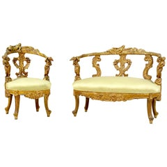 Italian Baroque Giltwood Settee and Side Chair