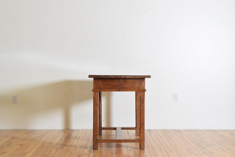 17th Century Italian Baroque Light Walnut 1-Drawer Center Table / Writing Table For Sale