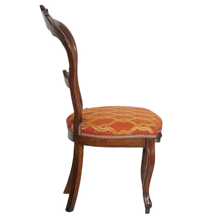 19th Century Italian Baroque Louis Philippe Side Chairs or Slipper Chairs in Walnut, Restored For Sale