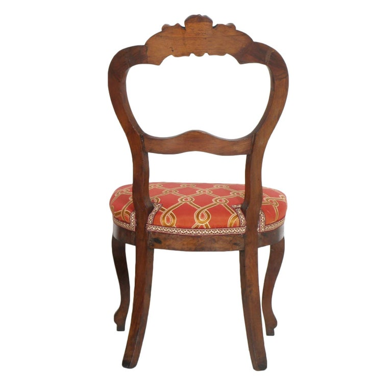 Italian Baroque Louis Philippe Side Chairs or Slipper Chairs in Walnut, Restored For Sale 1