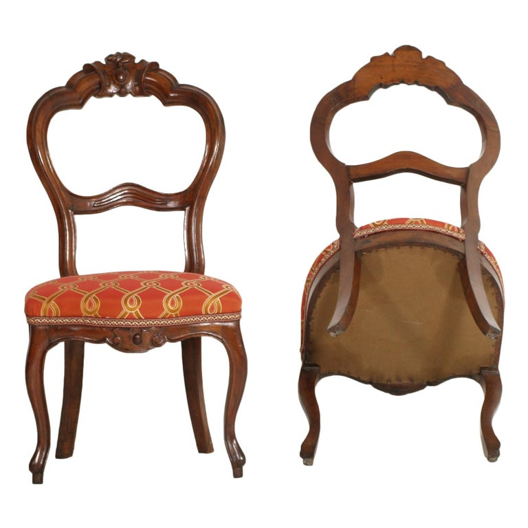 Italian Baroque Louis Philippe Side Chairs or Slipper Chairs in Walnut, Restored For Sale 2