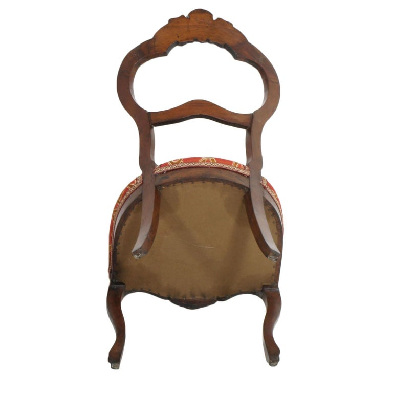 Italian Baroque Louis Philippe Side Chairs or Slipper Chairs in Walnut, Restored For Sale 4