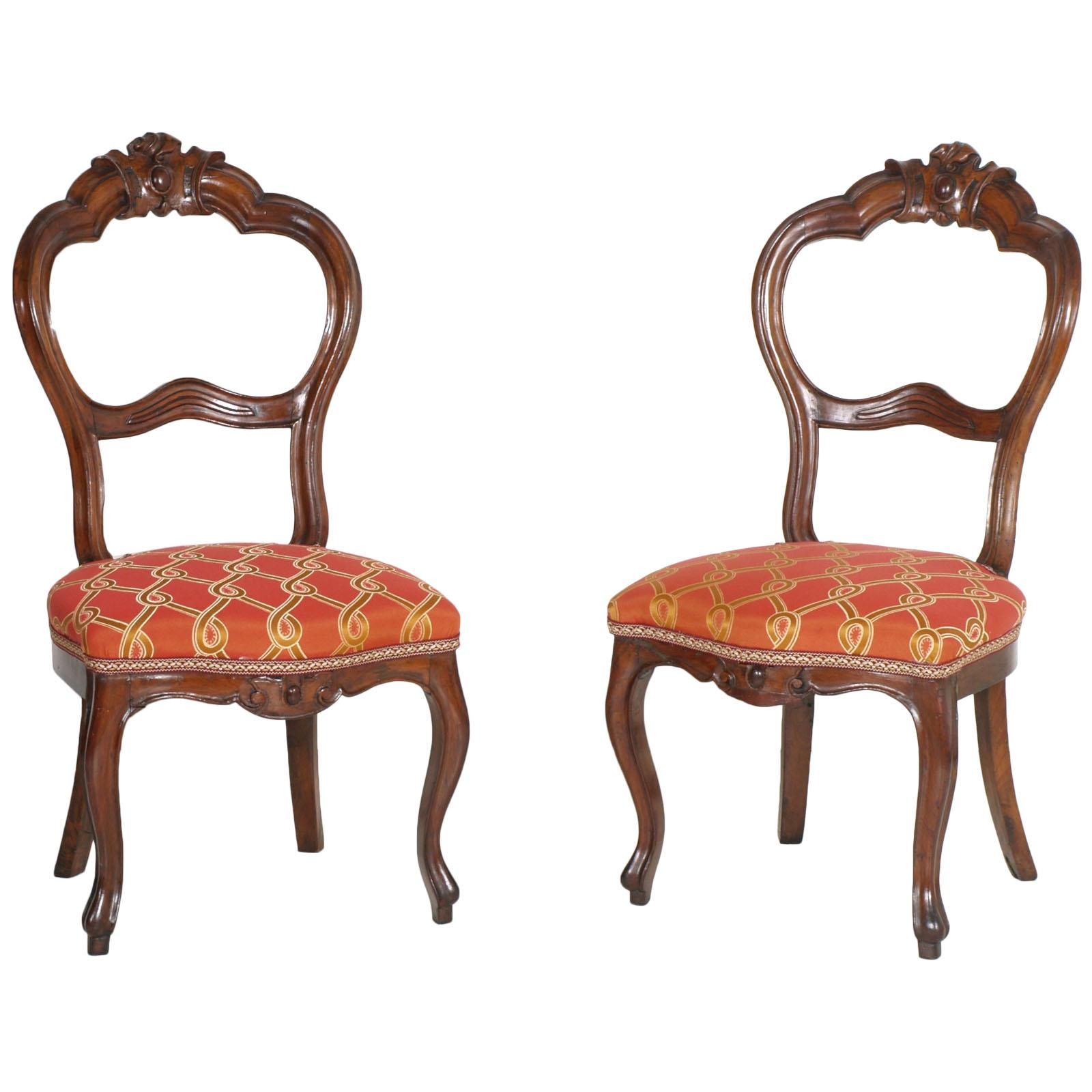 Italian Baroque Louis Philippe Side Chairs or Slipper Chairs in Walnut, Restored